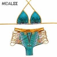2017 Hot Sexy Złota Wysokiej Talii Bikini Hollow Out Bandaż strój kąpielowy Wycięte Bikini Set Sexy Strappy Stroje Kąpielowe Strój Kąpielowy Biquini