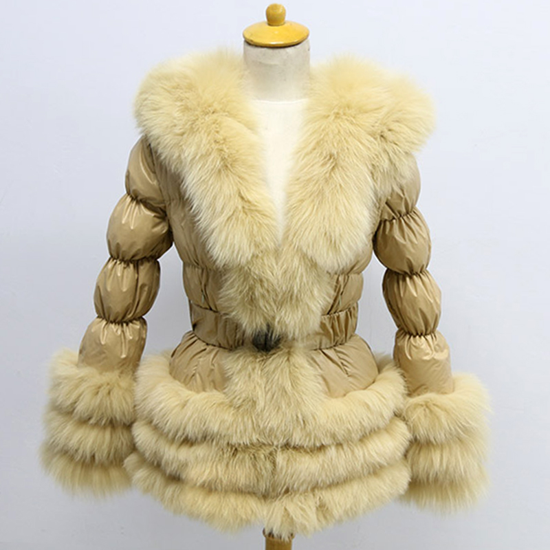 Free Shipping Factory Price Winter New Europe Women Fox Fur With Puffer Jacket
