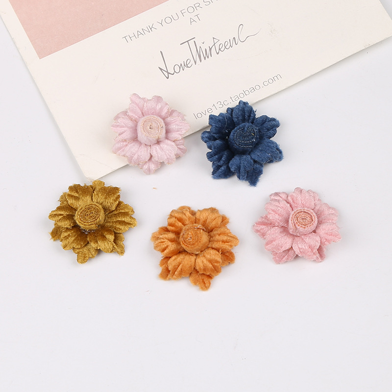 35pcs/lot Sunflower Vintage Satin Hair Rose Flowers For Kids Accessories Artificial Fabric Flowers For Headband