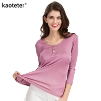 100% Pure Silk Women's T shirts Femme 3/4 Sleeve Loose Casual Tees Shirt Women Tops Ladies Candy Color Shirts Female T shirt