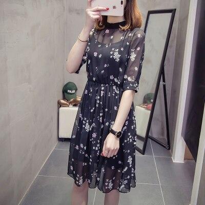 CHUNLI Large size XL 2XL 3XL 4XL 5XL 2019  Women summer dress slimming floral dress + condole belt two pieces.