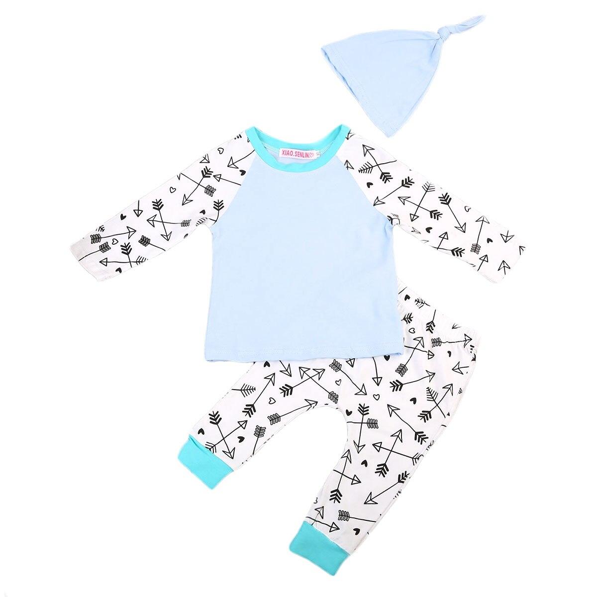 Autumn Winter Baby Boys Casual Long Sleeve Tops+ Arrow Pants+Hat 3PCS Outfits Set Clothes 0-24M AU