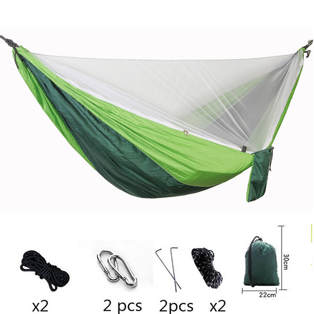 The Double Hammock Camping Quick Open Mosquito Hammocks 290*140 + Wind Rope Nail Anti Rollover Hanging Chair Newest Swing BedThe Double Hammock Camping Quick Open Mosquito Hammocks 290*140 + Wind Rope Nail Anti Rollover Hanging Chair Newest Swing Bed