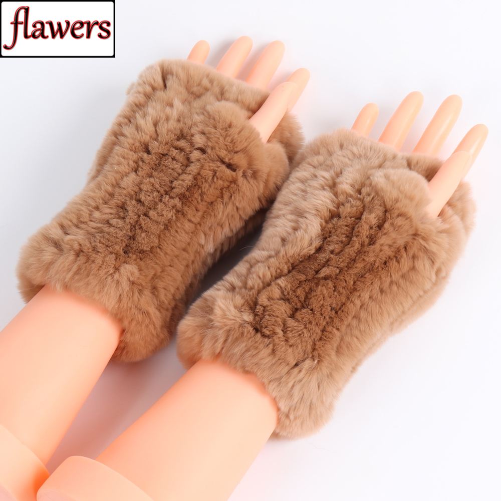 New Casual Girl Natural Real Rex Rabbit Fur Gloves Women Good Elastic Knitted Rex Rabbit Fur Mittens Real Rex Rabbit Fur Gloves