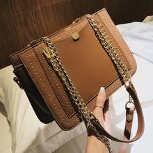 European style Retro Fashion Female Big bag 2018 New High quality Matte PU Leather Women bag Rivet Chain Shoulder Messenger bags