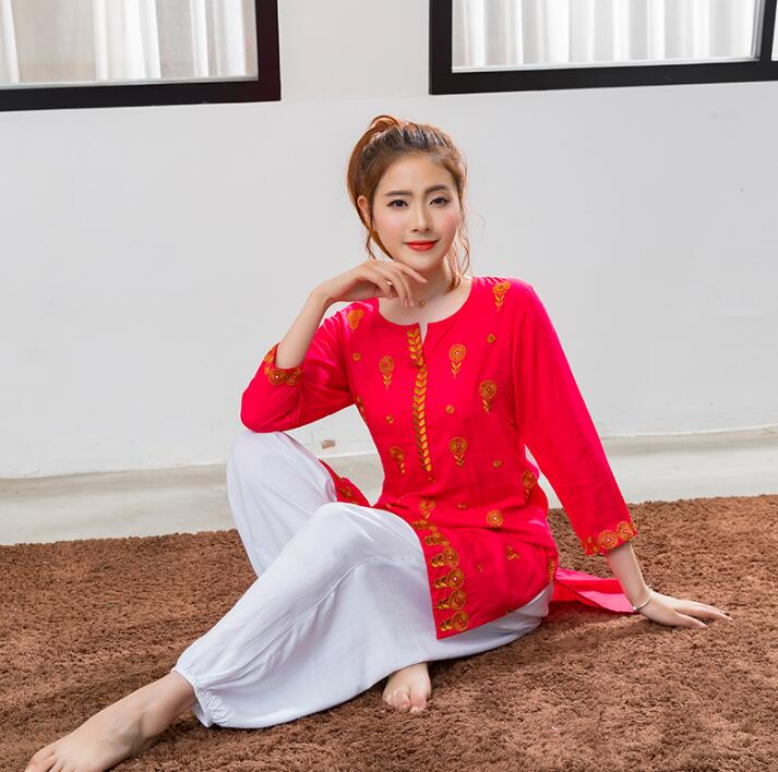 India Traditional Woman Kurtas Yoga Costume Cotton Handmade Embroidery Top Short Styles Red Jacket