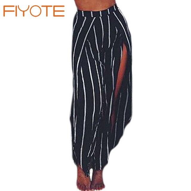 161e8bb22671 FIYOTE Tallas grandes Para Mujer Sexy Cintura Alta Negro Raya Blanca  Abierta pantalones anchos de La