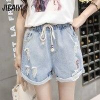 JIBAIYI повседневное плюс размеры летние джинсовые шорты эластичный пояс Тонкий Хип Винтаж джинсовые для женщин Harajuku отверстие прямые шорты, б