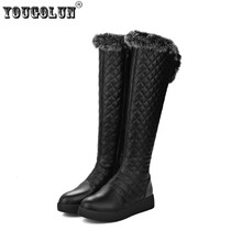 YOUGOLUN women knee high snow boots woman thigh high boots women autumn winter boots  ladies flat  warm thick plush 2017 shoes