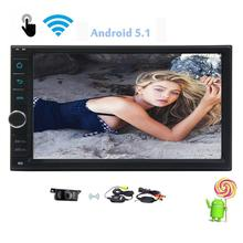 Android 5.1 Auto Car Radio Stereo Double Din Head Unit 7 inch Autoradio GPS Navigation Bluetooth Steering Wheel AV Output WIFI