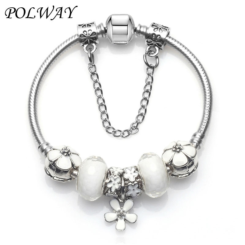 2018 Fashion Women <font><b>Bracelet</b></font> <font><b>925</b></font> Unique Silver Crystal Bead Charm <font><b>Bracelet</b></font> For Women Fit <font><b>pan</b></font> <font><b>Bracelets</b></font> Gift image