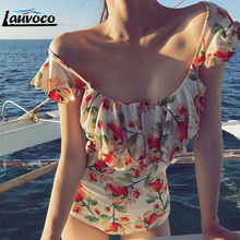 White Black Floral Printed Swimsuit One Piece Swimwear Women Vintage Ruffle Padded Beachwear High Cut Swimming Suit for