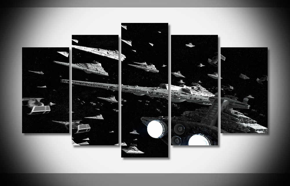 5 Pieces Movie Star Wars Star Destroyer Black Poster Home Wall Decor Canvas Picture Art HD Print Painting On Canvas Artworks