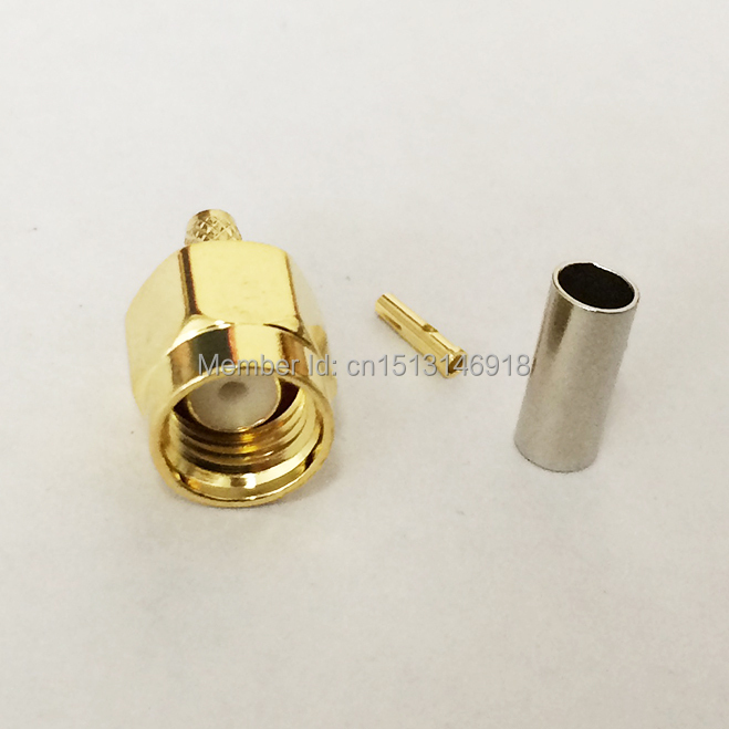 1pc RP SMA Male Plug RF Coax Connector Crimp  RG316 , RG174, LMR100  Cable Connector Straight Goldplated NEW wholesale dhl ems 2 lots 100pcs connector sma male plug crimp rg174 rg316 lmr100 cable straight d2