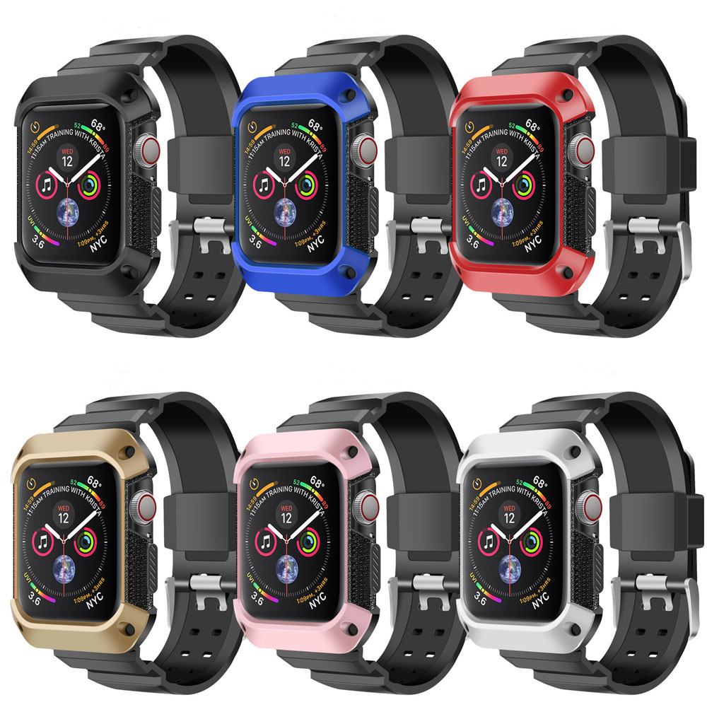 Sport strap For Apple Watch 4 band Case 44mm 40mm iwatch 4 accessories Rugged TPU Protective cover + Band bracelet wrist beltSport strap For Apple Watch 4 band Case 44mm 40mm iwatch 4 accessories Rugged TPU Protective cover + Band bracelet wrist belt
