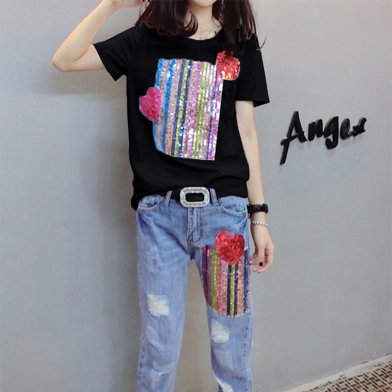 Summer Two Piece Sets Women Plus Size Short Sleeve Sequins Tshirts And Denim Ripped Jeans Sets Suits Casual Women's Sets M-5xl 29