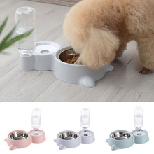 2 In 1 PP Stainless Steel Automatic Water Dispenser Feeder Drinker Pet Supplies Dog Bowl Cat Ears Shaped Detachable