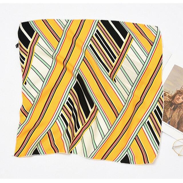 50*50cm Fashion Women Elegant Floral Silk Square Scarf Small Plain Neckerchief Handle Bag Ribbons Ladies Headband Hair Tie Band 10