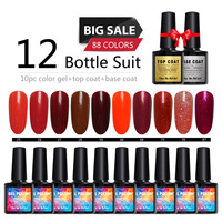 12pcs Red Set Semi Permanent Gel Nail Polish French Nail Manicure 88Colors Varnish UV Gel Lacquer Nail Design Manicure Set DIY
