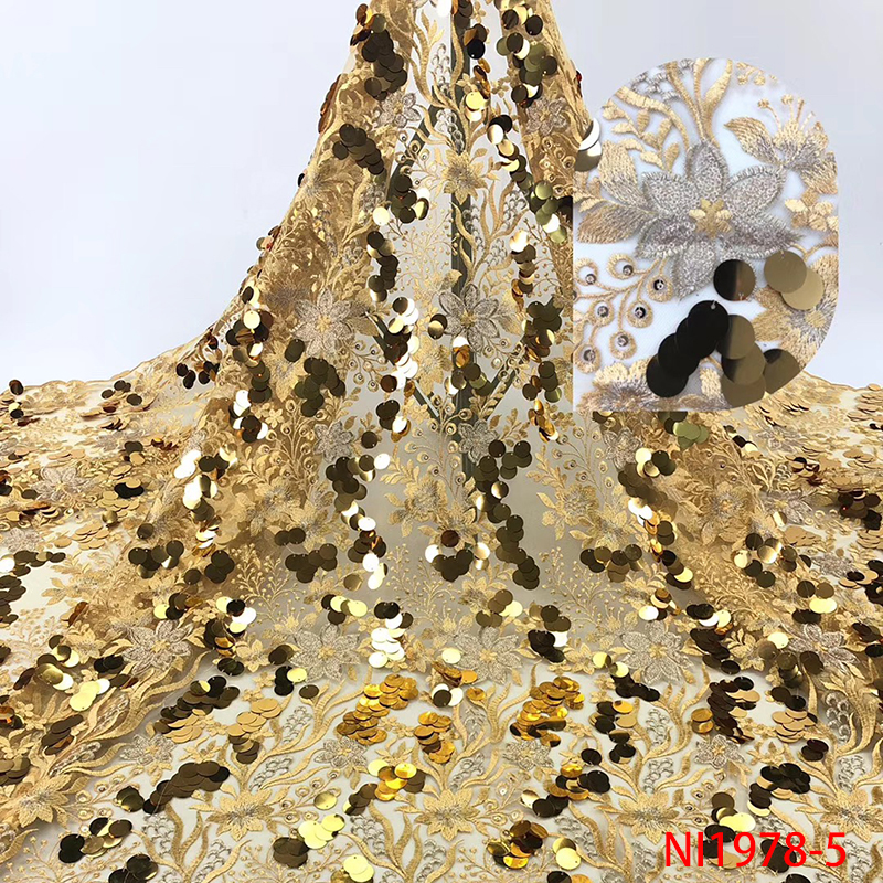 High Quality French Net Lace Fabric 2019 African Lace Fabric Nigerian Embroidery Tulle Laces With Sequins KSNI1978B-5