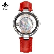 Bgg cuero de las mujeres relojes de vestir señoras de cerámica de lujo dial casual reloj relogio feminino mujeres rhinestone reloj de cuarzo horas