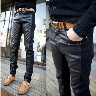 Hot 2013 New Brand Faux Leather Sweatpants Men Slim Fit Motorcycle Pant Mens Skinny Pants Fashion Spiced PU Trousers - FORHISIS MEN FASHION STORE store