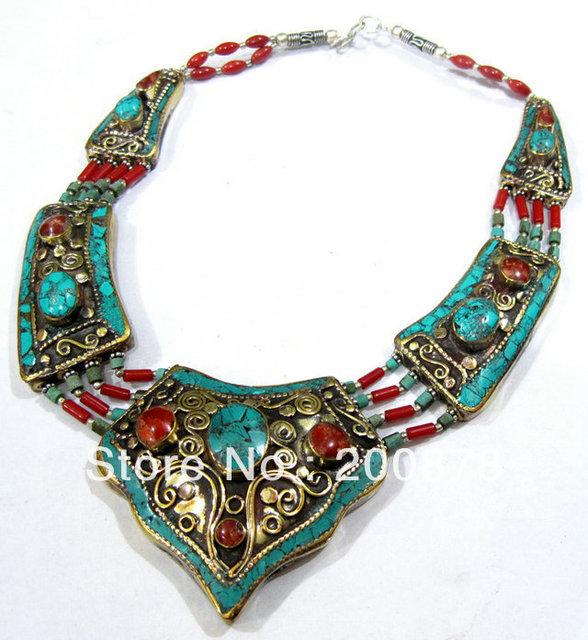 Tnl525 diseño principal Charmsing Nepal latón indio con incrustaciones de turquesa coral colgante collar, 16 '', 2013 BOHO de Ethnic nave libre