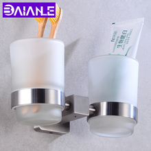 Bathroom Toothbrush Holder Cup Set Stainless Steel Double Glass Cup Tumbler Holders Wall Mounted Toothpaste Rack Bath Accessorie стоимость