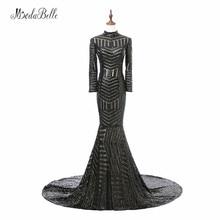 Роскошные черные женские вечерние платья 2017 Vestido Noite с длинным рукавом Высокие шеи Русалки с блестками Формальные вечерние платья Вечерние платья