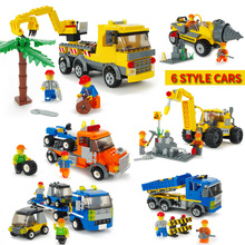 City Construction Building Block Bricks Engineering Team Building block car trailer DIY Educational Toys Compatible Legoings new city engineering team demolition site building block worker figures truck forklift bricks 60076 educational toys for kids