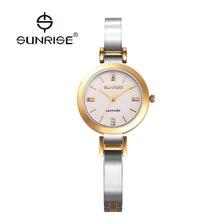 AMANECER de Oro de Lujo de Las Mujeres de Cuarzo Relojes de Señoras Del Diamante reloj de cuarzo Resistente Al Agua Reloj de Pulsera de Reloj Simple SL712