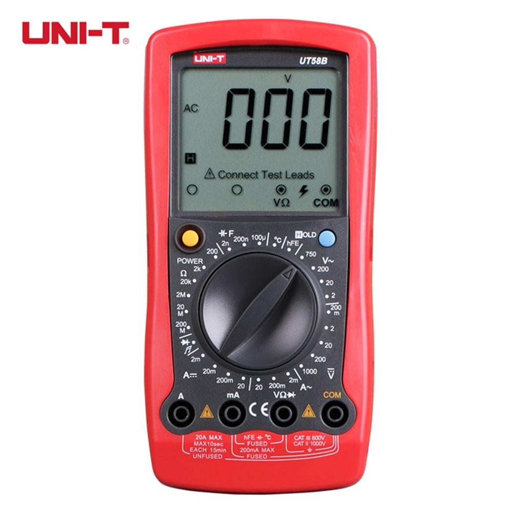 UNI-T UT58B Ammeter Volameter DMM Digital Multimeters DC AC Voltage Current Resistance Capacitance Meter Tester Multitester  цены