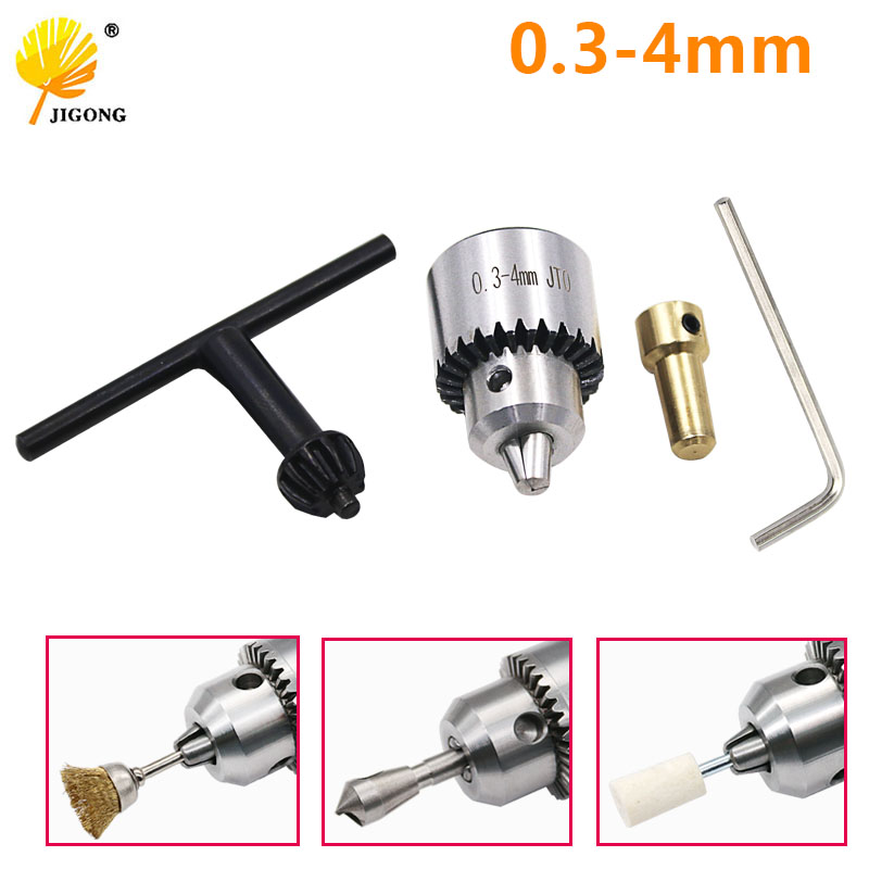 JlGONG Drill Chucks Clamping 0.3-4mm Jt0 Taper Mounted Drill Chuck With Chuck Key 3.17mm Brass Mini Electric Motor Shaft