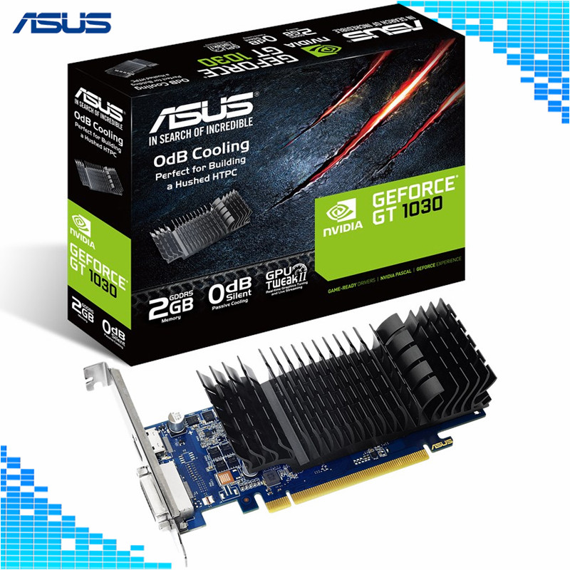 Cartes graphiques Asus GT 1030-SL-2G-BRK 6008 MHz 64Bit GDDR5 1266/1506 MHz PCI Express 3.0 4X cartes vidéo NVIDIA GeForce GT 1030 2G