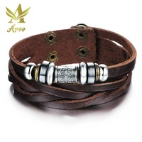 ANGG Bohemia Style Accessories Fashion Jewelry Leather Personality Men Bracelet Male Bangles