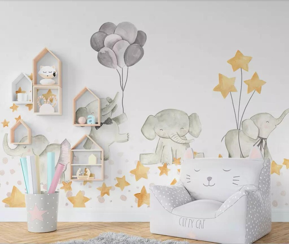 Custom Large Photo Cartoon Cute Elephant Stars Children's Room 3D Mural Wallpaper