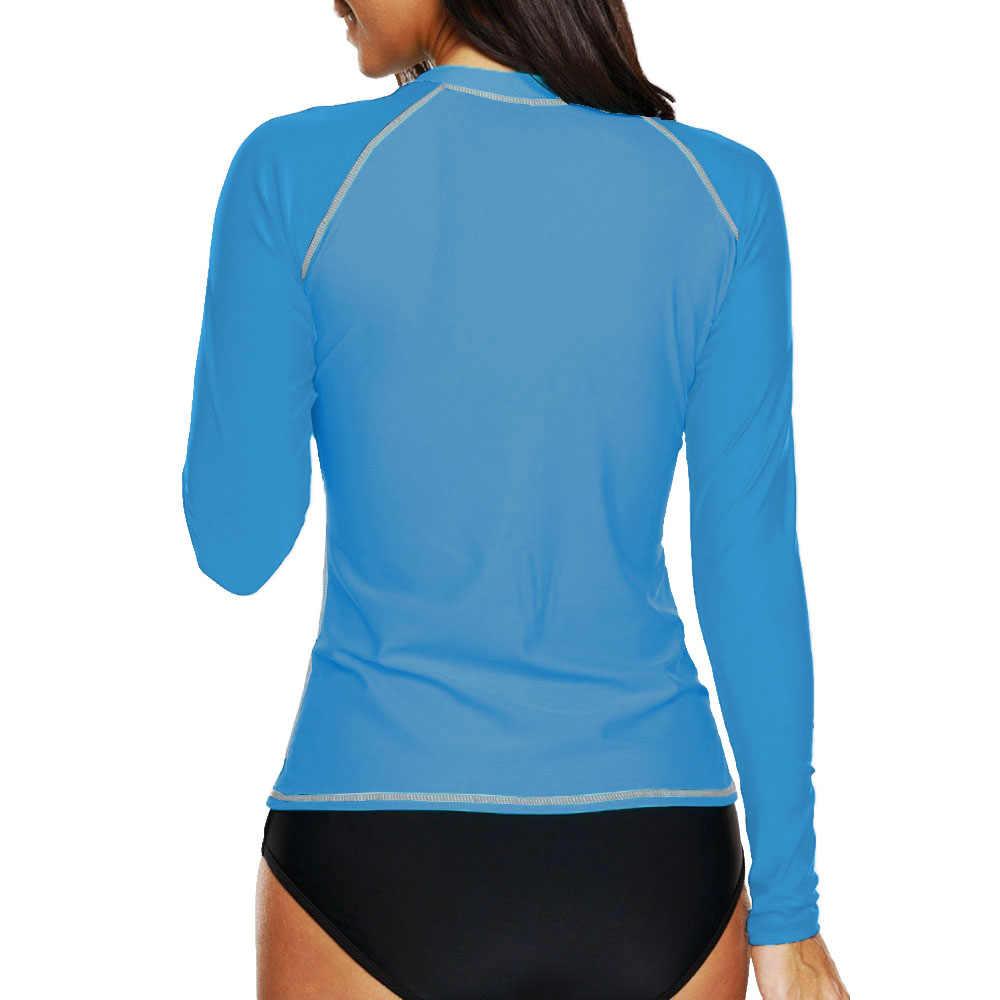 Lengan Panjang Kolam Tshirt untuk Wanita Surf Ruam Penjaga Biru Solid UPF50 + K Berlaku Baju Renang Femme Surfing Baju 2019 Baju Renang