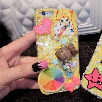 Sailor Moon Serena 3D Anime Karikatür Kawaii Decoden Krem Şanti Telefon kılıf için galaxy s6 s8 telefon 6 s 7 için S7 kenar artı