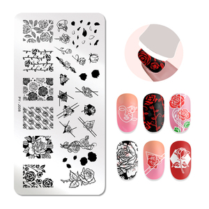 Image 4 - PICT YOU Nail Stamping Plates Rose Flowers Patterns Rectangle Plates Image Geometric Stamp Templates Nail Art Stencil Plate