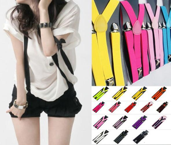 Mens Womens Unisex Solid Color Clip-on Suspenders Elastic Y-Shape Tirantes Adjustable Strap Braces Solids 25*100cm Colorful