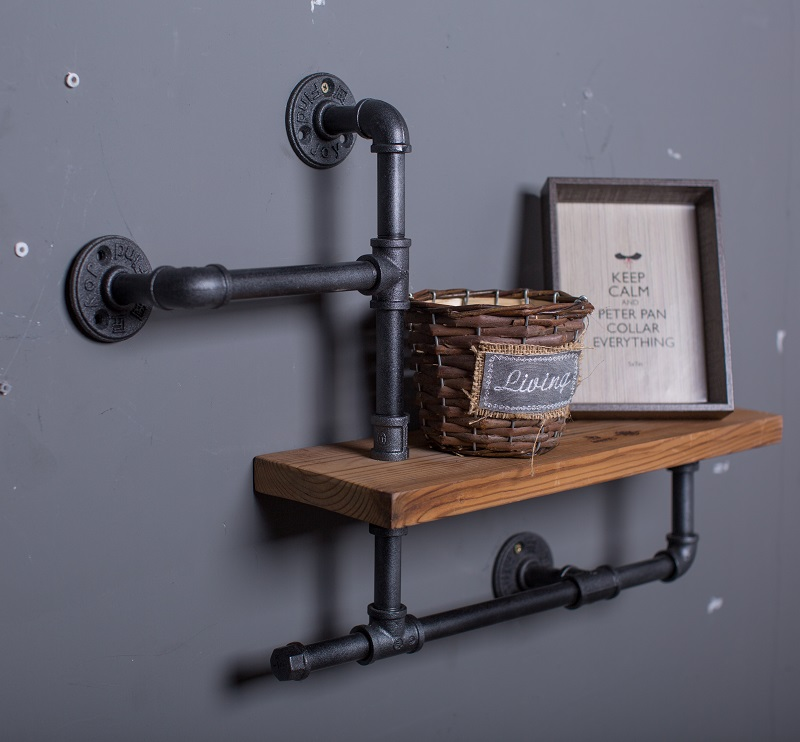 Wood Size 50*15cm Vintage Clothing Display Clothing Store Shelf Hangers Industrial Wrought Iron Clothing Rack Pipes Shelf -Z3 iron clothing display floor clothing rack clothing store shelf floor display rack shelf for men and women