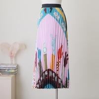 Qooth Women's Long Skirt Summer Skirts 2019 Spring Luxury Rainbow Print Pleated Skirt High Waist Floral Vestidos Saia QH1744