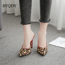 BYQDY Fashion Suede Leopard Women Shoes High Heels Office Pumps Animal Print Pointed Toe Russian Comfortable
