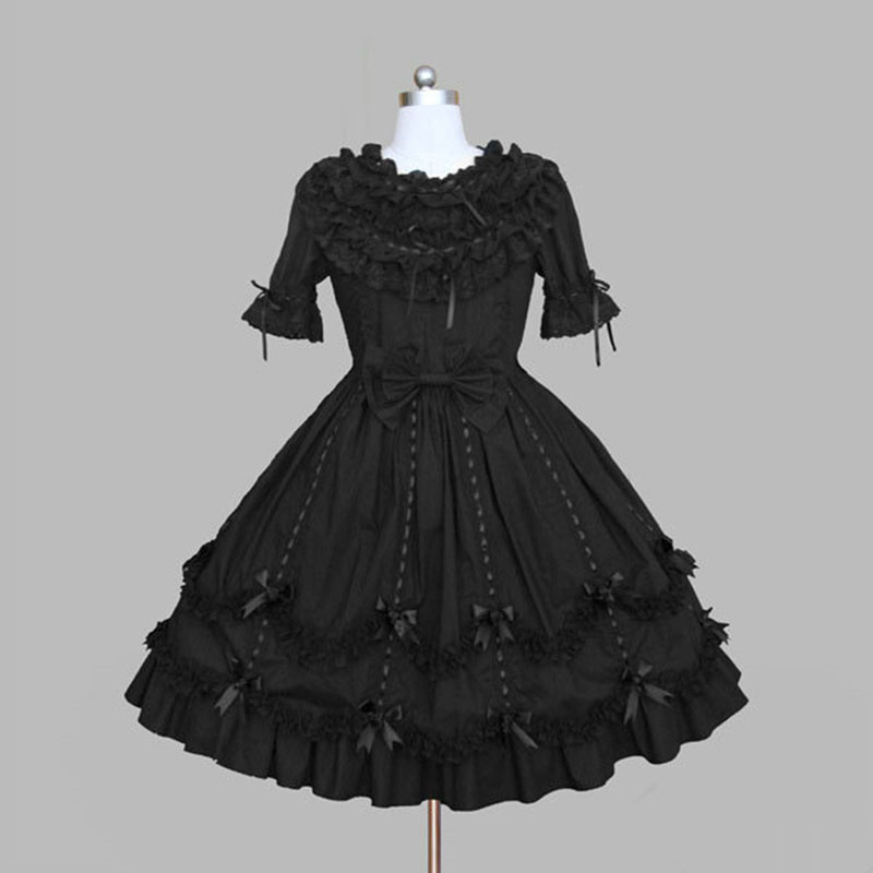 Customized 2018 Sweet Slim Princess Gothic Lolita Dresses Black Cotton Short Sleeve Women Ladies Cosplay Costume For Halloween