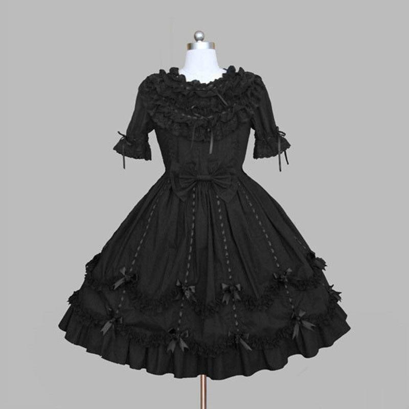 Personnalisé 2018 doux mince princesse gothique Lolita robes noir coton à manches courtes femmes dames Cosplay Costume pour Halloween