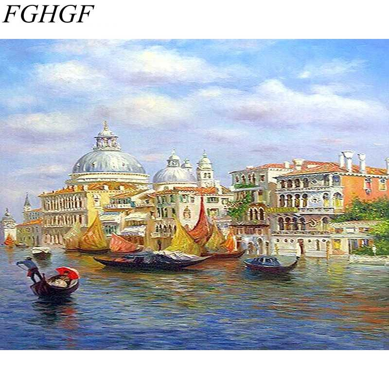 FGHGF Frameless Abstract Sailing Seascape DIY Painting By Numbers Handpainted Picture Painting On Canvas For Living Room