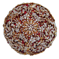 Amazing Luxious Diamond Brooch Bouquet for Wedding ,Best Quality Full WineRed Rose Gold Alloy Rhinestone Factory Custom W888 13