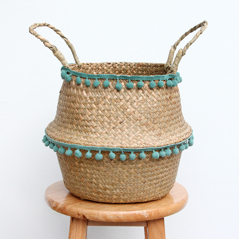 New Household Foldable Natural Seagrass Woven Storage Pot Garden Flower Vase Hanging Basket With Handle Storage Bellied Basket(China)