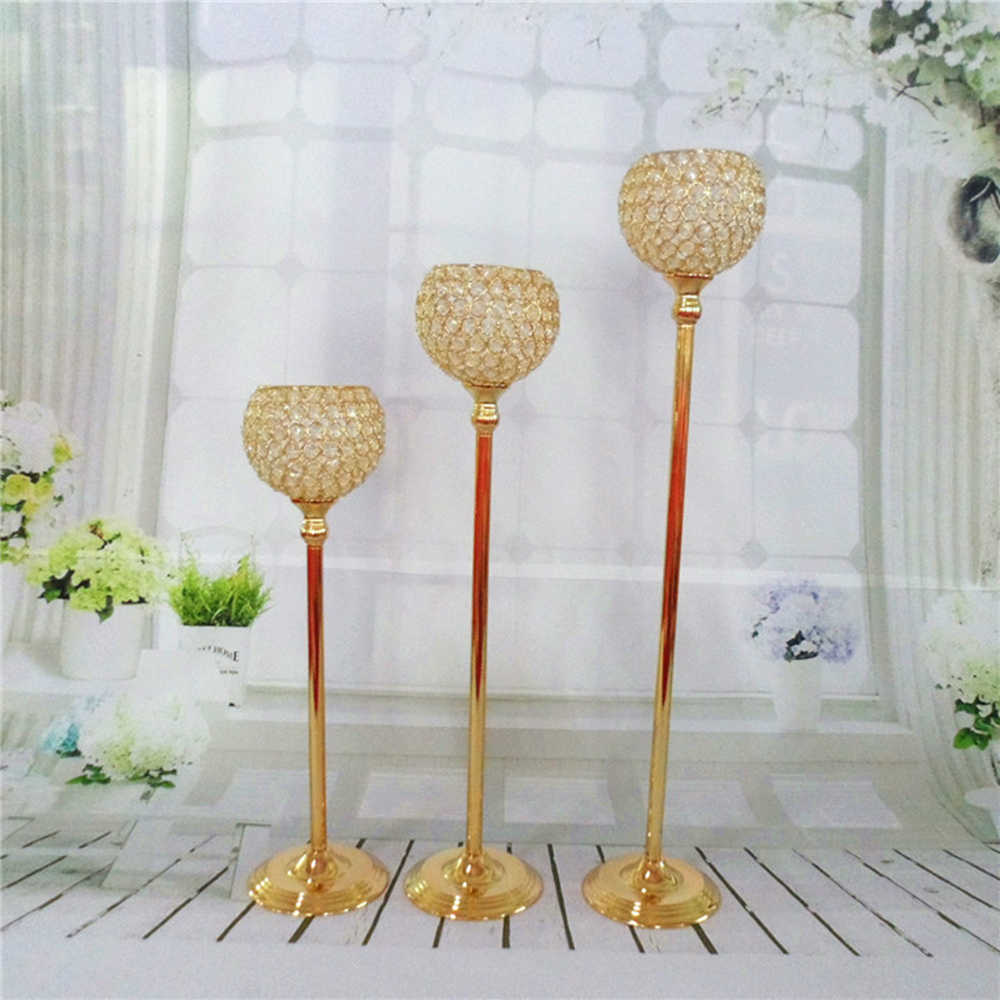 65cm height Gold crystal wedding decoration candle holders event ...