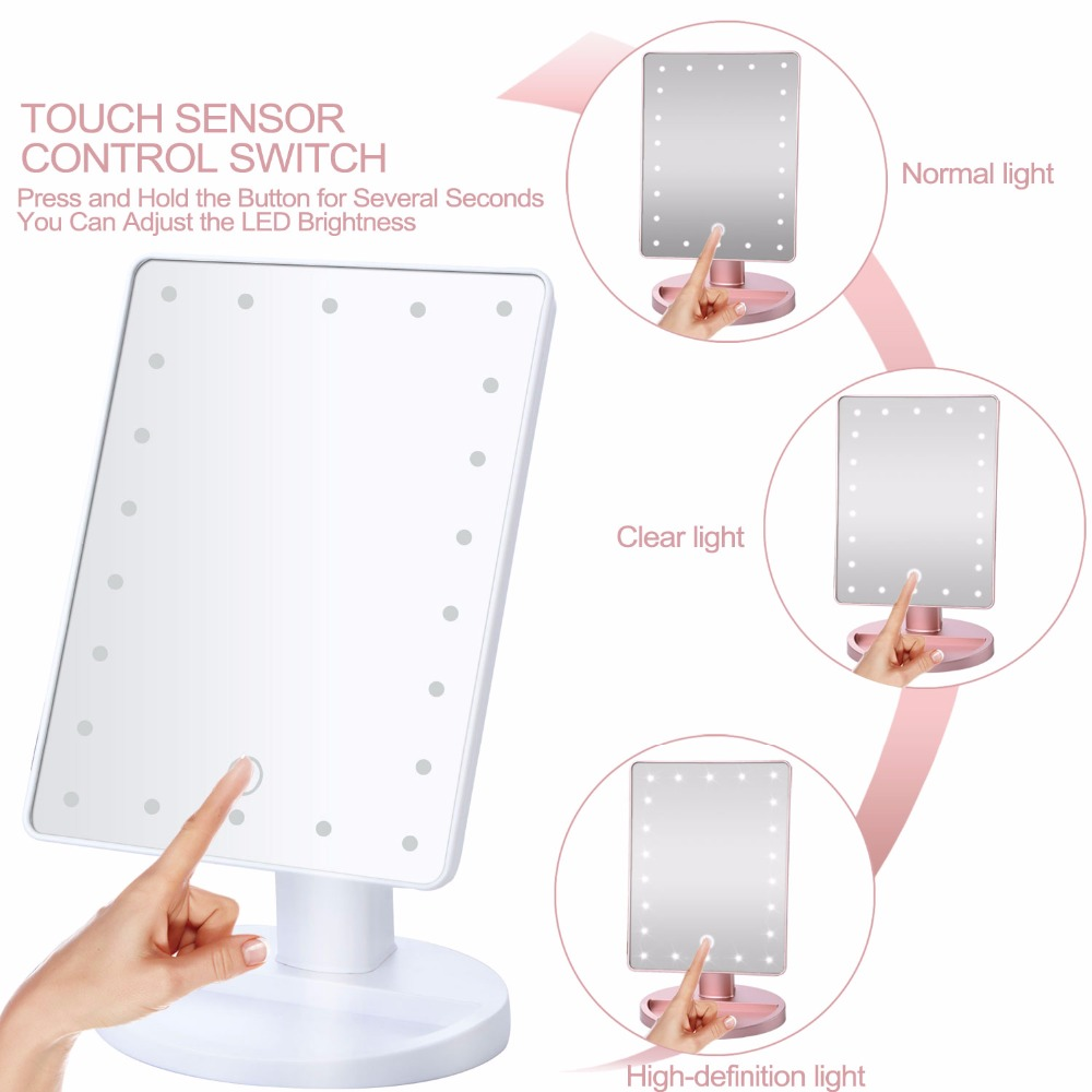 Rotation Makeup Mirror With Led Light 10X Magnifying Mirror With Suction Cups Vanity Mirror Light Makeup Accessories makeup mirror with 16 leds 10x magnifying portable desktop travel mirror wall suction mounted 360 degree rotation round mirror